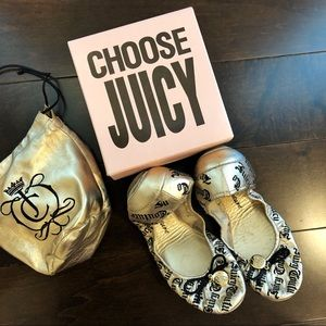 Juicy Couture Gold Ballet Flats Size 9